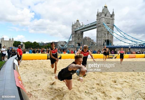 Bennett compete against JLL during day one of the London Beach Rugby 2017 at Potters Field Park on August 4 2017 in London England