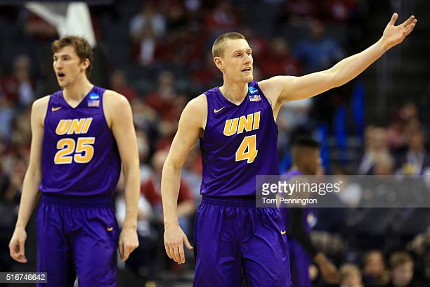 Bennett Koch and Paul Jesperson of the Northern Iowa Panthers celebrates in the second half against the Texas AM Aggies during the second round of...