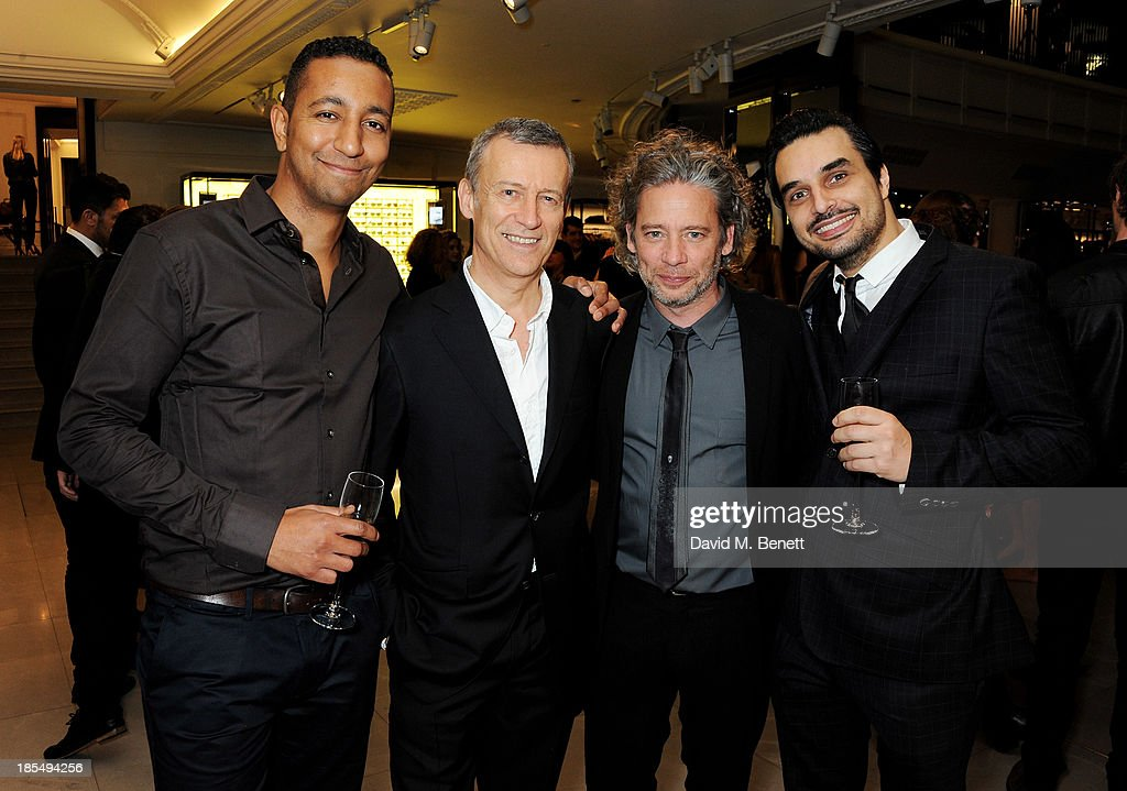 Bennett McGhee, Duncan Kenworthy, Dexter Fletcher and Georg Backer attend the BAFTA 'Breakthrough Brits' event at Burberry 121 Regent Street, London on October 21, 2013 in London, United Kingdom.