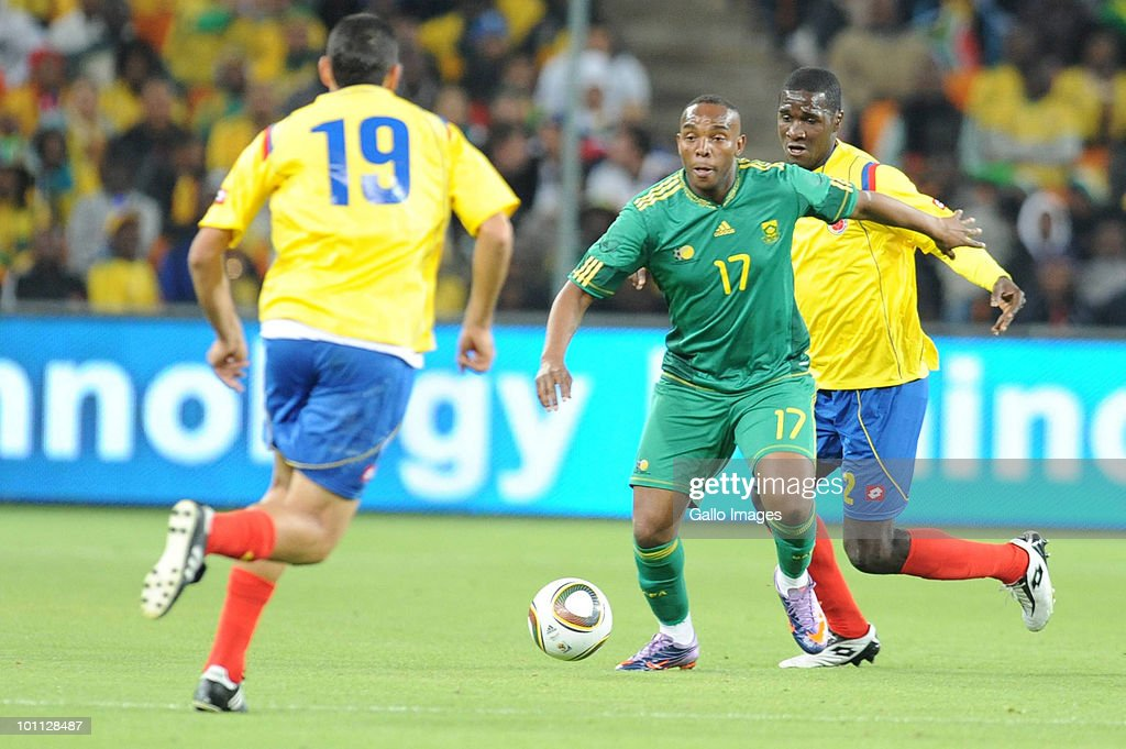 Benni McCarthy and Cristian Zapata during the International friendly between South Africa and Columbia at Soccer City Stadium on May 27, 2010 in Johannesburg, South Africa.