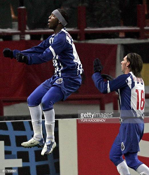 Benni McCarthy from Porto celebrates after scoring against CSKA during their Champions League football match at the Lokomotiv stadium in Moscow 24...