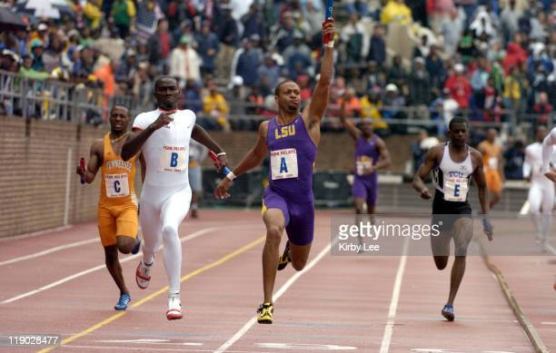 Bennie Brazell anchors Louisiana State men's 400meter relay to victory in 3906 in the111th Penn Relays at the University of Pennsylvania's Franklin...