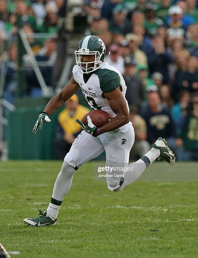 Bennie Fowler #13 of the Michigan State Spartans runs against the Notre Dame Fighting Irish at Notre Dame Stadium on September 21, 2013 in South Bend, Indiana. Notre Dame defeated Michigan State 17-13.