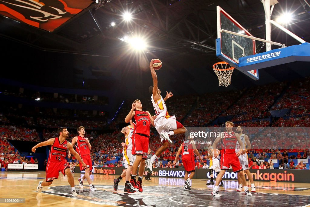 Bennie Lewis of the Tigers shoots on basket during the round 14 NBL match between the Perth Wildcats and the Melbourne Tigers at Perth Arena on January 13, 2013 in Perth, Australia.