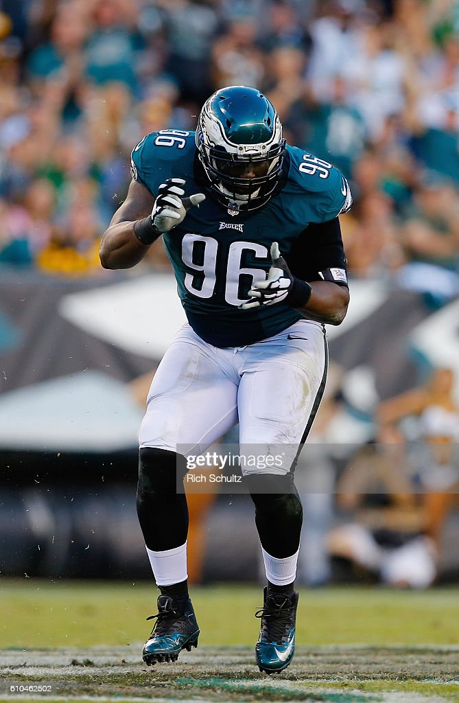 Bennie Logan #96 of the Philadelphia Eagles celebrates sacking quarterback Ben Roethlisberger #7 (not pictured) of the Pittsburgh Steelers in the second half at Lincoln Financial Field on September 25, 2016 in Philadelphia, Pennsylvania.
