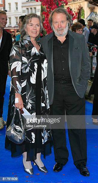 Benny Anderson and Mona Norklit pose for a picture on the blue carpet at the World Premiere of Mamma Mia the movie June 30 2008 at Leicester Square...