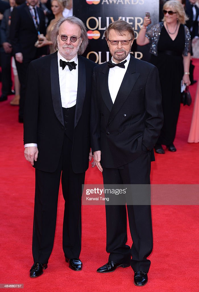 Benny Andersson and Bjorn Ulvaeus attend the Laurence Olivier Awards held at The Royal Opera House on April 13, 2014 in London, England.