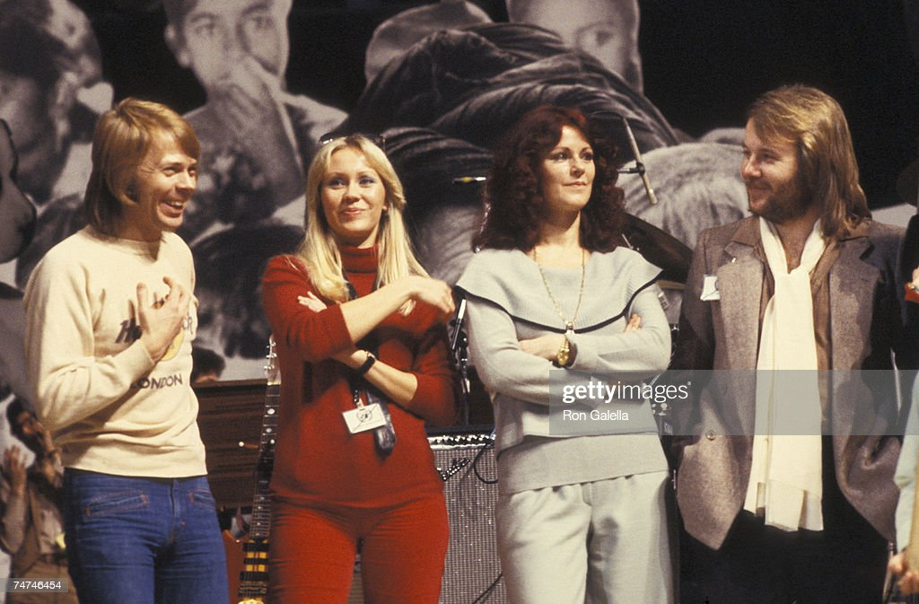 Benny Andersson, Annifrid Lyngstad, Agnetha Faltskog and Bjorn Ulvaeus of ABBA at the UN in New York City, New York