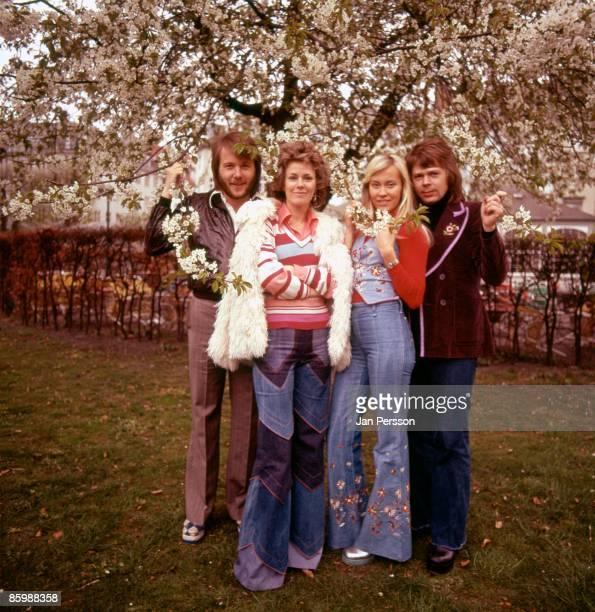 Benny Andersson AnniFrid Lyngstad Agnetha Faltskog and Bjorn Ulvaeus of Swedish pop group ABBA pose for a group portrait in a garden in Copenhagen...