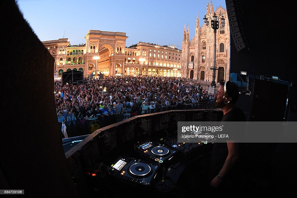 <a gi-track='captionPersonalityLinkClicked' href=/galleries/search?phrase=Benny+Benassi&family=editorial&specificpeople=4524657 ng-click='$event.stopPropagation()'>Benny Benassi</a> performs during the Champions Festival prior to the final at Stadio Giuseppe Meazza on May 27, 2016 in Milan, Italy.