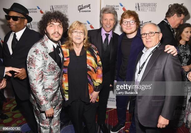 Benny Blanco Linda Moran Jon Bon Jovi Hal David Starlight Award Winner Ed Sheeran and Irving Azoff pose backstage at the Songwriters Hall Of Fame...