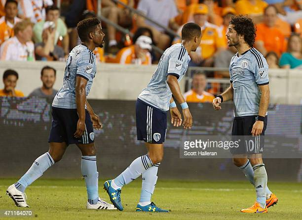 Benny Feilhaber of Sporting KC celebrates his gametying goal against the Houston Dynamo duirng their game at BBVA Compass Stadium on April 25 2015 in...