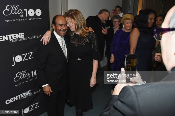 Benny Golson and Diana Krall attend the Jazz at Lincoln Center 2017 Gala 'Ella at 100 Forever the First Lady of Song' on April 26 2017 in New York...