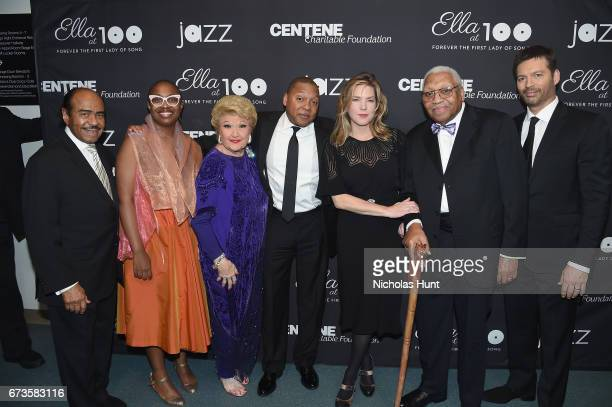 Benny Golson Cecile McLorin Salvant Marilyn Maye Wynton Marsalis Diana Krall Ellis Marsalis and Harry Connick Jr attend the Jazz at Lincoln Center...