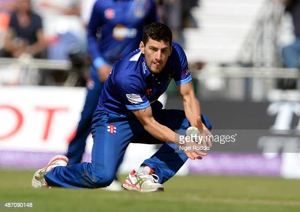 Benny Howell of Gloucestershire bowls and catches out Gary Ballance of Yorkshire Vikings in action during the Royal London OneDay Cup Semi Final...