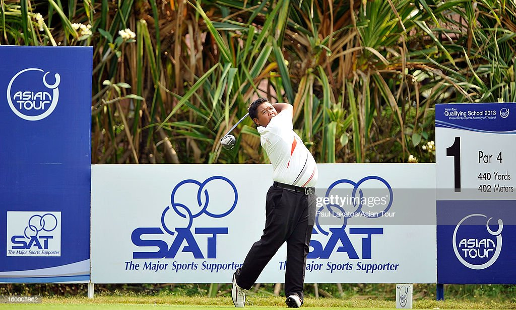 Benny Kasiadi of Indonesia plays a shot during round three of the Asian Tour Qualifying School Final Stage at Springfield Royal Country Club on January 25, 2013 in Hua Hin, Thailand.