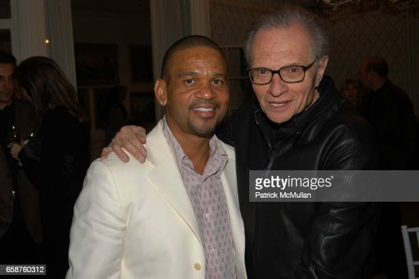 Benny Medina and Larry King attend Kathy and Rick Hilton's party for Donald Trump and 'The Apprentice' at the Hiltons' Home on February 28 2004 in...