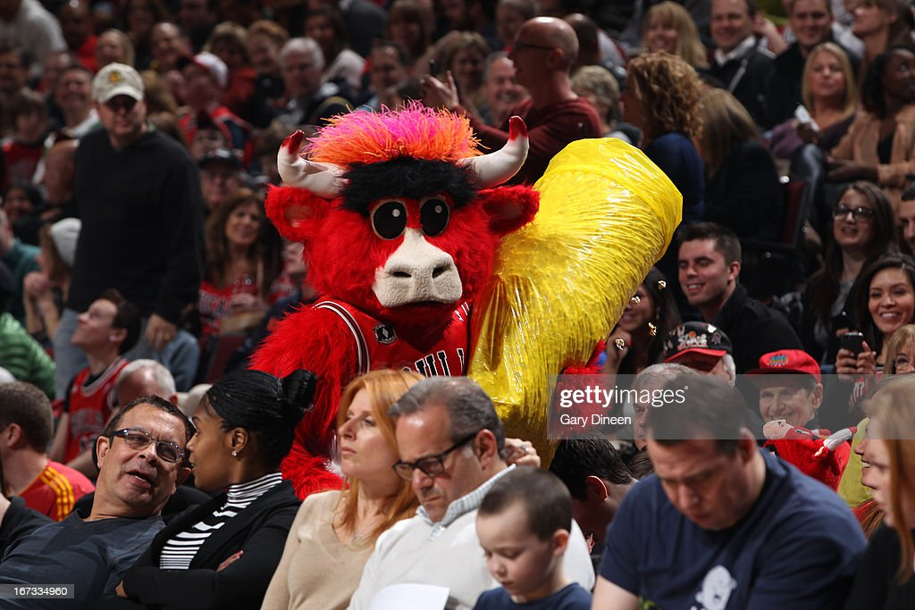 Benny the Bull of the Chicago Bulls walks throught the crowd during the game against the Indiana Pacers on March 23, 2013 at the United Center in Chicago, Illinois.