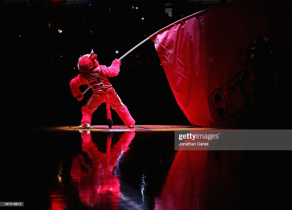 Benny, the mascot of the Chicago Bulls, waves a flag during player introductions before the Bulls take on the Brooklyn Nets in Game Three of the Eastern Conference Quarterfinals during the 2013 NBA Playoffs at the United Center on April 25, 2013 in Chicago, Illinois. The Bulls defeated the Nets 79-76.