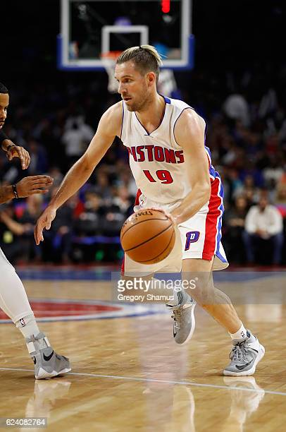Beno Udrih of the Detroit Pistons dribbles while playing the Orlando Magic at the Palace of Auburn Hills on October 28 2016 in Auburn Hills Michigan...
