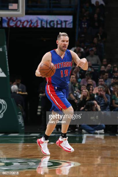 Beno Udrih of the Detroit Pistons handles the ball against the Milwaukee Bucks on March 31 2017 at the BMO Harris Bradley Center in Milwaukee...