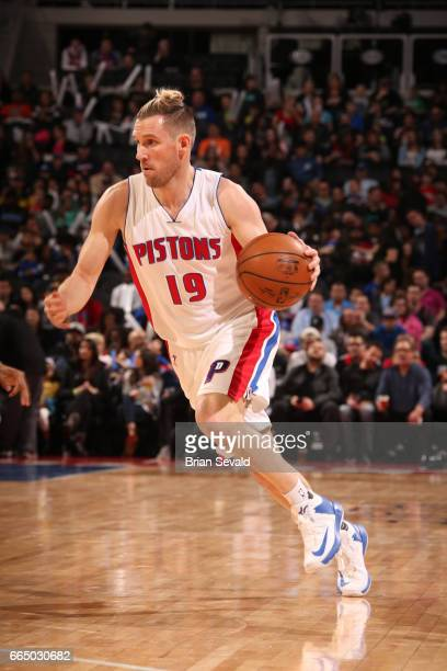 Beno Udrih of the Detroit Pistons handles the ball against the Toronto Raptors on April 5 2017 at The Palace of Auburn Hills in Auburn Hills Michigan...