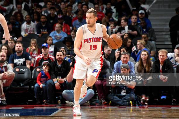 Beno Udrih of the Detroit Pistons handles the ball during the game against the Brooklyn Nets on March 30 2017 at The Palace of Auburn Hills in Auburn...