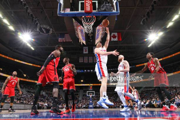 Beno Udrih of the Detroit Pistons shoots the ball against the Toronto Raptors on April 5 2017 at The Palace of Auburn Hills in Auburn Hills Michigan...