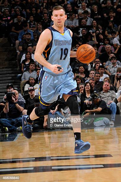 Beno Udrih of the Memphis Grizzlies brings the ball up court against the San Antonio Spurs on March 29 2015 at the ATT Center in San Antonio Texas...