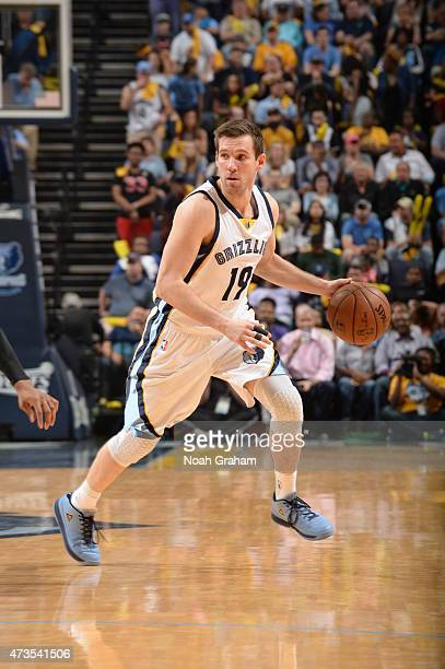 Beno Udrih of the Memphis Grizzlies brings the ball up court against the Golden State Warriors in Game Six of the Western Conference Semifinals...