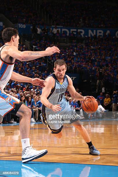 Beno Udrih of the Memphis Grizzlies drives against the Oklahoma City Thunder in Game Seven of the Western Conference Quarterfinals during the 2014...