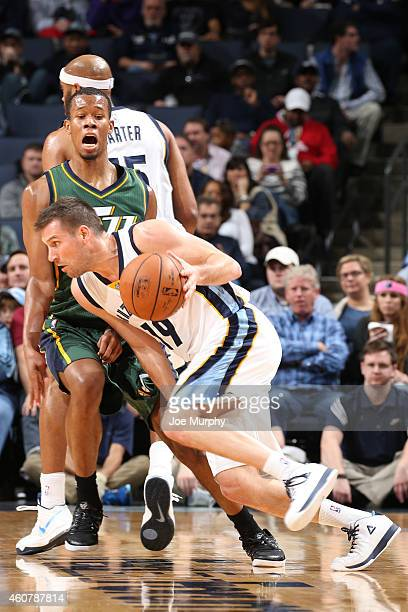 Beno Udrih of the Memphis Grizzlies drives to the basket against the Utah Jazz on December 22 2014 at the FedExForum in Memphis Tennessee NOTE TO...