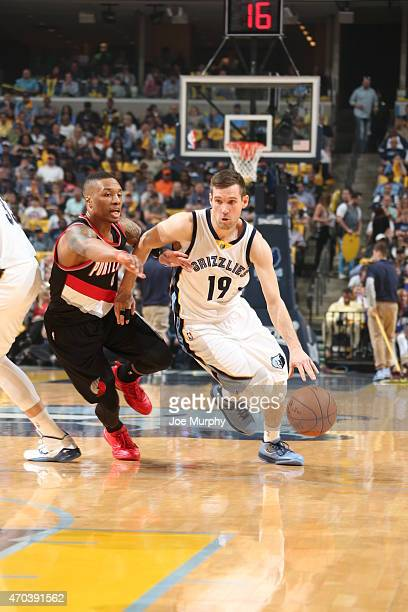 Beno Udrih of the Memphis Grizzlies drives to the basket against the Portland Trail Blazers in Game One of the Western Conference Quarterfinals...