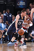 Beno Udrih of the Memphis Grizzlies drives to the basket against the Portland Trail Blazers in Game Four of the Western Conference Quarterfinals...