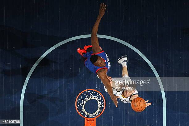 Beno Udrih of the Memphis Grizzlies goes to the basket against the Philadelphia 76ers on January 24 2015 at the FedExForum in Memphis Tennessee NOTE...