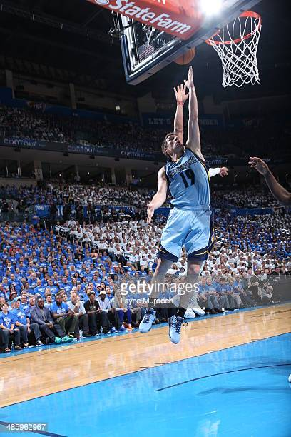 Beno Udrih of the Memphis Grizzlies goes up for the layup against the Oklahoma City Thunder In Game Two of the Western Conference Quarterfinals of...