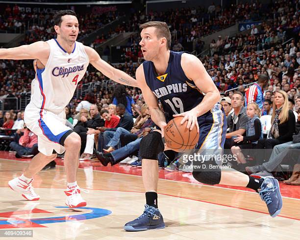 Beno Udrih of the Memphis Grizzlies handles the ball against the Los Angeles Clippers on April 11 2015 at Staples Center in Los Angeles California...