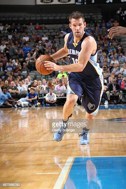 Beno Udrih of the Memphis Grizzlies handles the ball against the Dallas Mavericks on October 20 2014 at the American Airlines Center in Dallas Texas...