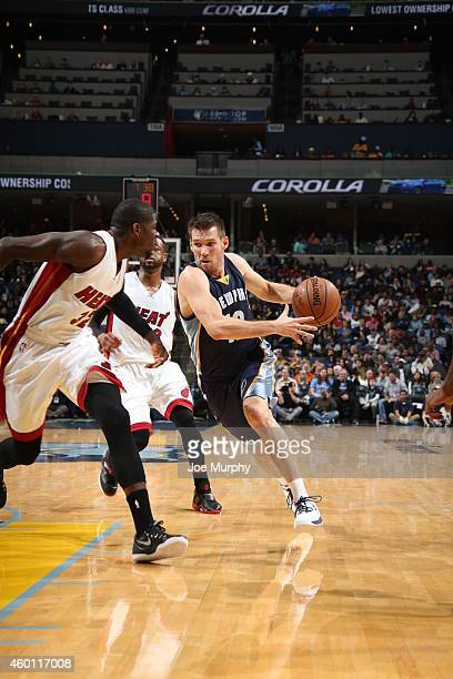 Beno Udrih of the Memphis Grizzlies handles the ball against the Miami Heat during the game on December 7 2014 at FedExForum in Memphis Tennessee...