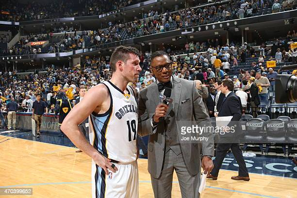Beno Udrih of the Memphis Grizzlies is interviewed after Game One of the Western Conference Quarterfinals against the Portland Trail Blazers during...