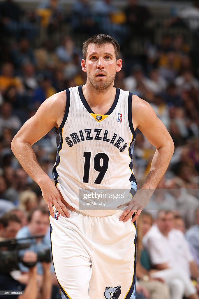 <a gi-track='captionPersonalityLinkClicked' href=/galleries/search?phrase=Beno+Udrih&family=editorial&specificpeople=202616 ng-click='$event.stopPropagation()'>Beno Udrih</a> #19 of the Memphis Grizzlies on the court against the Oklahoma City Thunder in Game Six of the Western Conference Quarterfinals during the 2014 NBA Playoffs on May 3, 2014 at FedExForum in Memphis, Tennessee.
