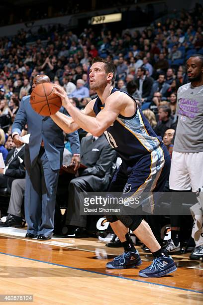 Beno Udrih of the Memphis Grizzlies shoots against the Minnesota Timberwolves on February 6 2015 at Target Center in Minneapolis Minnesota NOTE TO...