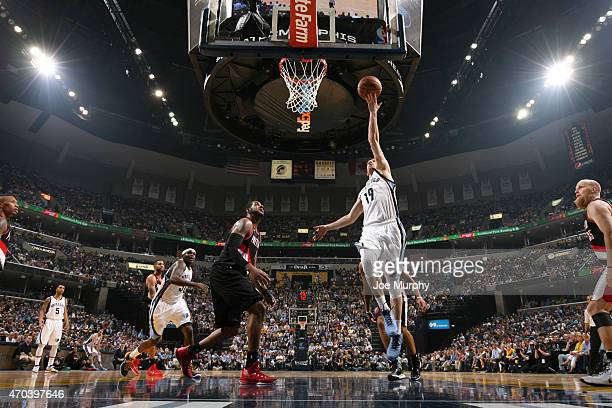 Beno Udrih of the Memphis Grizzlies shoots against the Portland Trail Blazers during Game One of the Western Conference Quarterfinals of the NBA...
