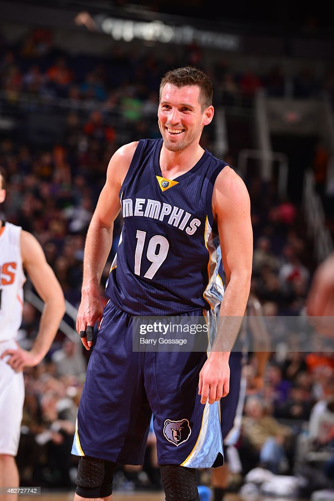 <a gi-track='captionPersonalityLinkClicked' href=/galleries/search?phrase=Beno+Udrih&family=editorial&specificpeople=202616 ng-click='$event.stopPropagation()'>Beno Udrih</a> #19 of the Memphis Grizzlies smiles during a game against the Phoenix Suns on February 2, 2015 at U.S. Airways Center in Phoenix, Arizona.