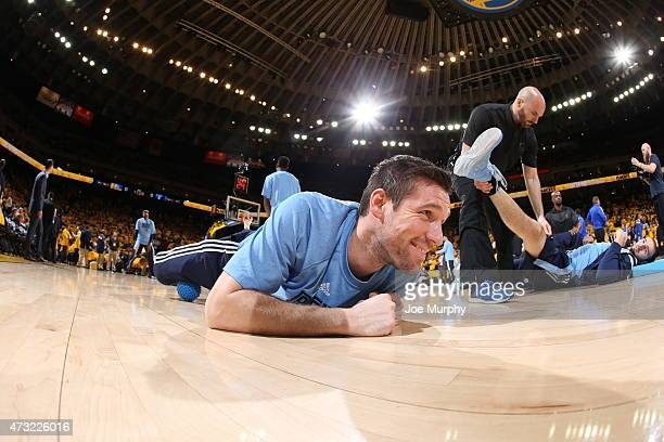 Beno Udrih of the Memphis Grizzlies stretches before a game against the Golden State Warriors in Game Five of the Western Conference Semifinals...