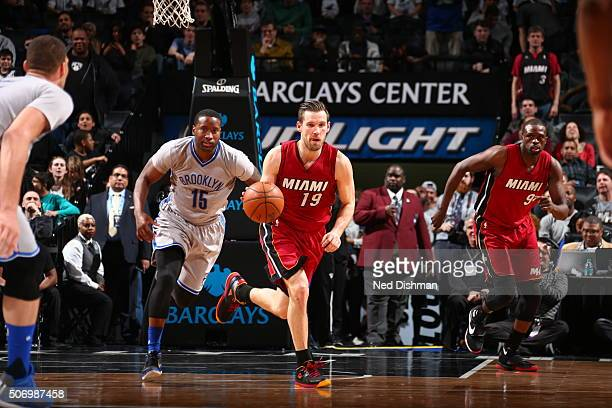 Beno Udrih of the Miami Heat brings the ball up court against the Brooklyn Nets on January 26 2016 at Barclays Center in the Brooklyn borough of New...