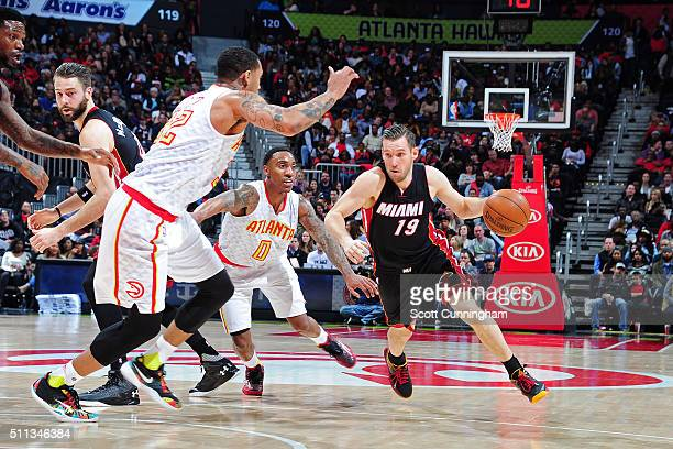 Beno Udrih of the Miami Heat dribbles the ball against the Atlanta Hawks on February 19 2016 at Philips Arena in Atlanta Georgia NOTE TO USER User...