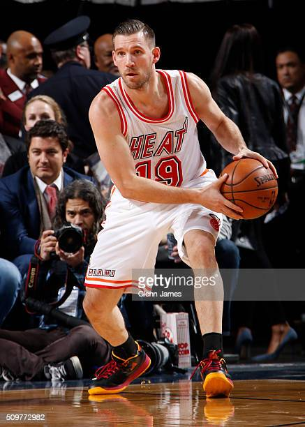 Beno Udrih of the Miami Heat dribbles the ball against the Dallas Mavericks on February 3 2016 at the American Airlines Center in Dallas Texas NOTE...