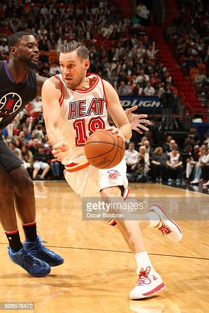 Beno Udrih of the Miami Heat halftimeb against the Los Angeles Clippers on February 7 2016 at American Airlines Arena in Miami Florida NOTE TO USER...