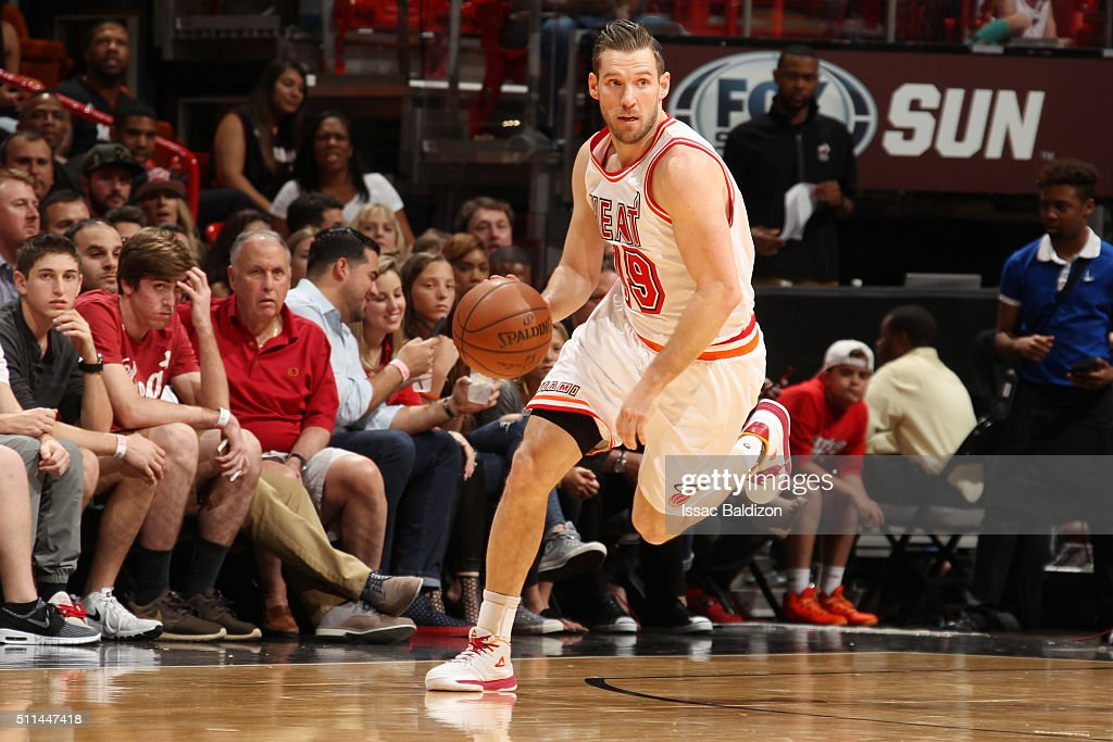 <a gi-track='captionPersonalityLinkClicked' href=/galleries/search?phrase=Beno+Udrih&family=editorial&specificpeople=202616 ng-click='$event.stopPropagation()'>Beno Udrih</a> #19 of the Miami Heat handles the ball against the Washington Wizards on February 20, 2016 at American Airlines Arena in Miami, Florida.